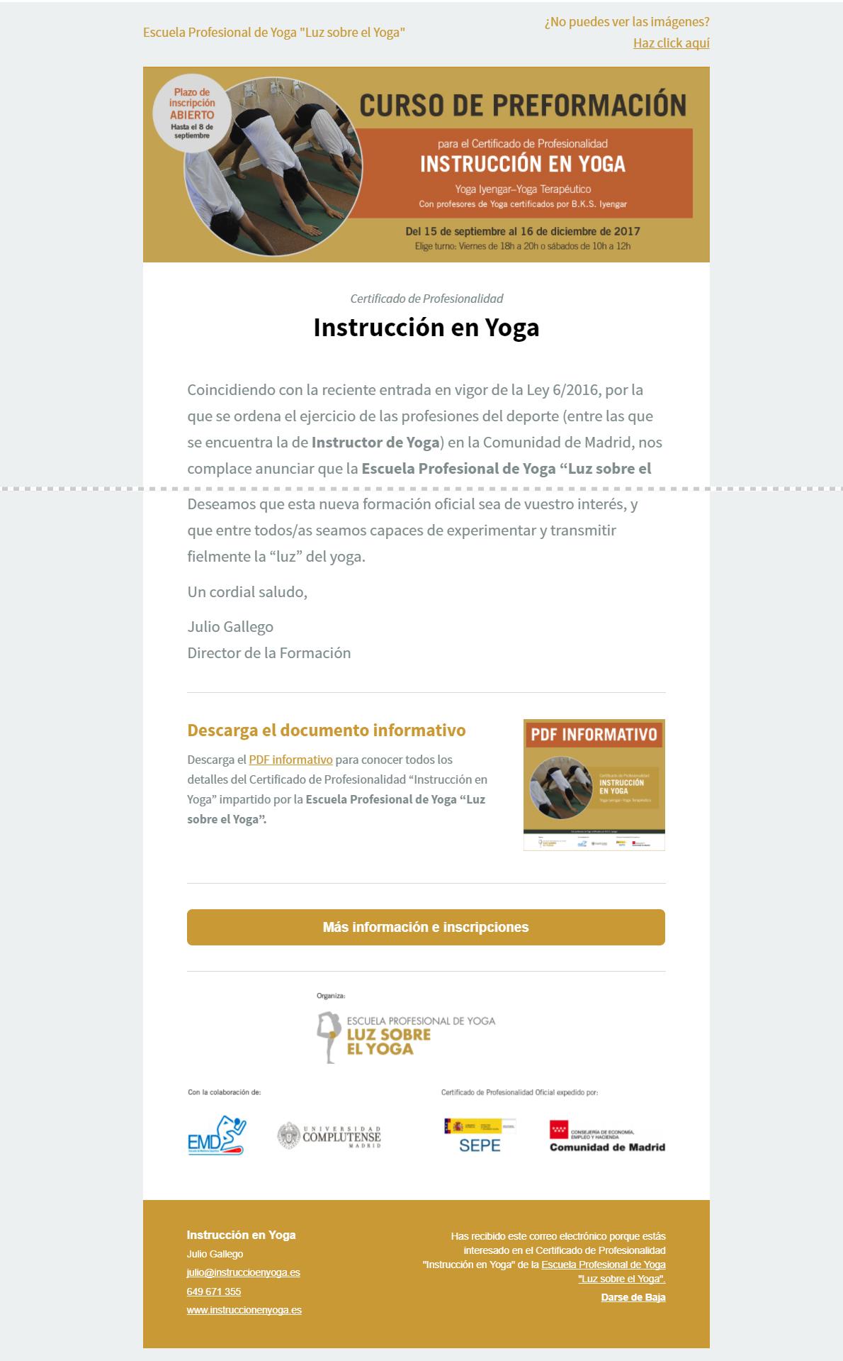 Newsletter Instrucción en Yoga